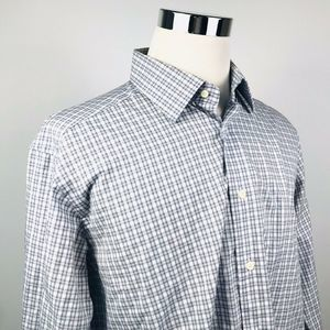 David Donahue Mens 17 34/35 Dress Shirt Gray Plaid